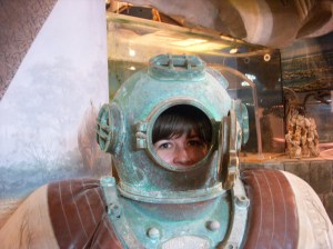 Here I am in an old fashioned dive suit